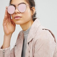 ASOS High Bar Round Sunglasses In Pink With Rose Gold Flash Lens at asos.com