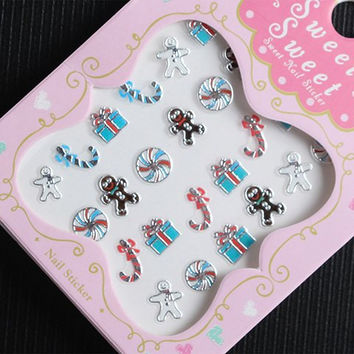 One Piece Xmas Gift Candy Cane Pattern 3D Nail Sticker
