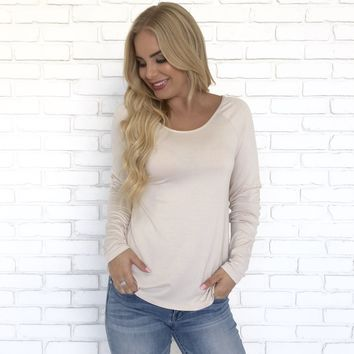 Taken Back Jersey Blouse In Beige