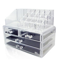 Acrylic Jewelry & Cosmetic Storage Display Boxes Two Pieces Set