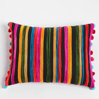 Embroidered Ikat Stripe Pillow