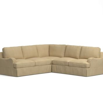 PB COMFORT ENGLISH ROLL ARM SLIPCOVERED 3-PIECE L-SHAPED SECTIONAL