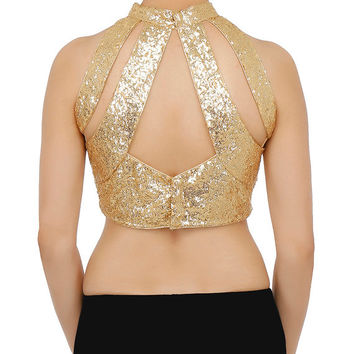 Indian Women's Gold Color Georgette Stitched Wedding Bridal Saree Collar Blouse Crop Top ABL15