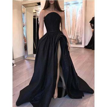 Evening Dress Ruffles Satin Strapless Black Prom Dress