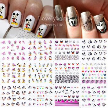 PEAPHY3 12 Sheets 12 styles A373-384 Nail Art Water Transfer Sticker Decals Cute Mickey Mouse Cartoon Stickers Wraps Tips Decoration