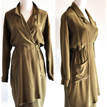 Silk Olive Wrap Dress / Vintage 1980s / Long Sleeved Silk Dress