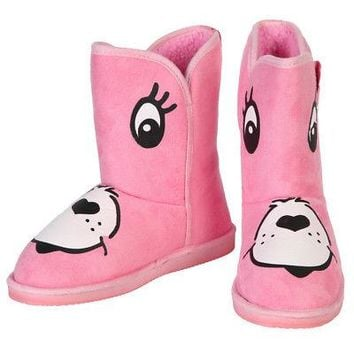 Iron Fist Care Bears Stare Cheer Bear Face Women's Pink Fugg Boots - US Size