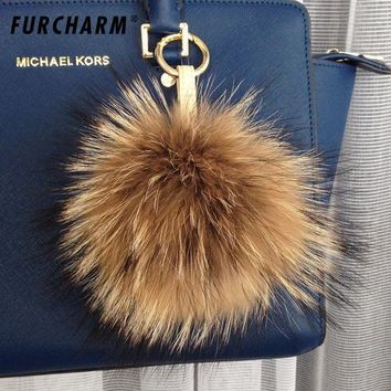 CREYCI7 18cm fur key chain Girl Fashion soft Trendy Real raccoon fur Ball Round key ring For Bag Fur Pompons for Bag Hats Cap Scarf
