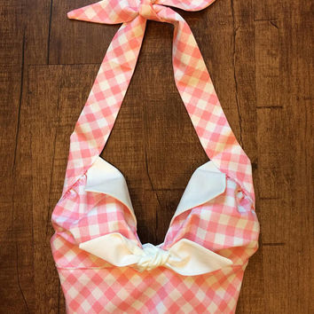 Handmade Bubblegum Pink White Gingham Checkered Country Western Rockabilly Retro Tie Midriff Halter Top XS Small Medium Large