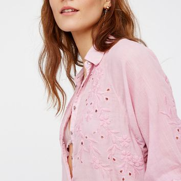 Free People Seasons Of The Moon Embroidered Raglan Blouse