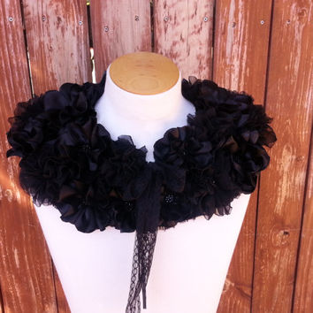 Hand Crafted Fabric Flower Full Collar in Black  Detachable Collar  Shrug  Capelet