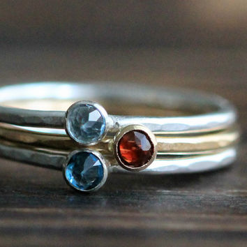 Dainty Three Gemstone Birthstone Stacking Ring Set- Silver, 14K gold & Gold Filled w London Blue Topaz, Garnet and Aquamarine By PaleFish
