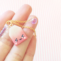 Cute Kawaii Pink Tea Bag Polymer Clay Charm Gold Chain Purple Swarovski Crystal Phone Dust Plug