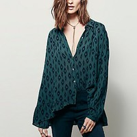 Free People Womens Geo Printed Ruffle Hem Buttondown