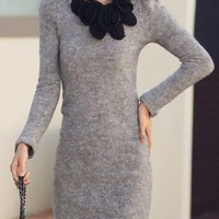 Light Gray Floral Designed Long Sleeve Knitted Dress