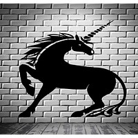 Decor Wall Sticker Vinyl Decal Unicorn Fairytale Fictional Animal Magic Unique Gift (n039)