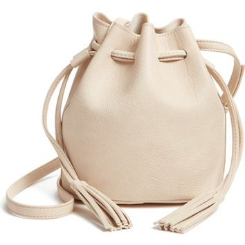 Street Level Mini Faux Leather Tassel Bucket Bag | Nordstrom