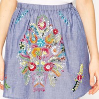 ASOS Mini Skirt in Chambray with Bright Embroidery at asos.com