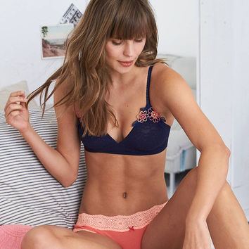 Aerie Triangle Bralette + Embroidery , Navy