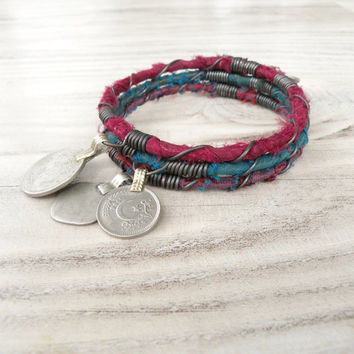 Silk Road Bangle Stack, 3 Piece Set, Tribal Gypsy Coins and Sari Silk, Teal, Burgundy, Purple