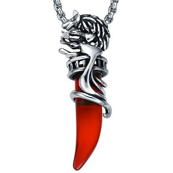 Stainless Steel Tribal Red Wolf Tooth W. Crystal Pendant Necklace