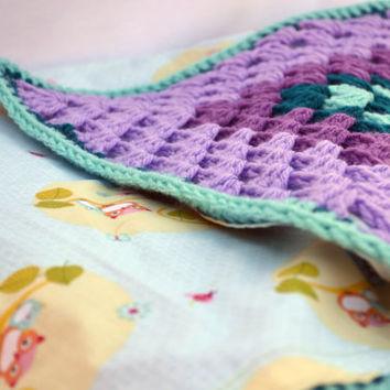 lavender and aqua crochet baby blanket, granny square reversible crochet baby blanket
