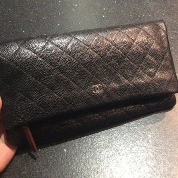 Authentic Brand New Chanel Beauty Fold Over Clutch Bag Black Caviar Silver HW