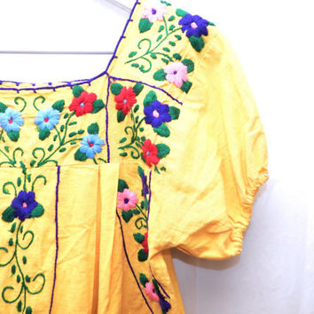 Mexican dress, Traditional mexican dress, Mexican embroidered dress, Mexican beach dress, Hippie dress, Mexican yellow dress, Hippie style