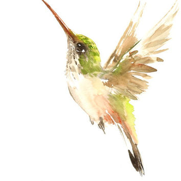 Flying Hummingbird, Original watercolor painting, 12 X 9 in,