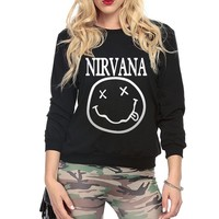 Women sweatshirt  Smiley Face Rock Band print cotton funny hoodies for Lady 2017 fashion autumn Hipster european style