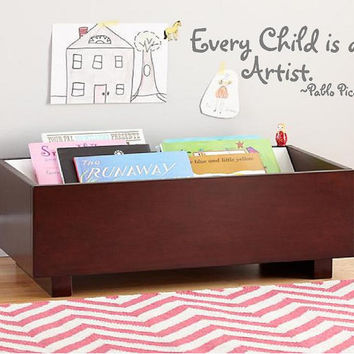 Every Child is an Artist -Pablo Picasso Vinyl Wall Art-10h x 27w-Vinyl Lettering Decal-Wall Words Decal--Boys Nursery Girls Room Decal
