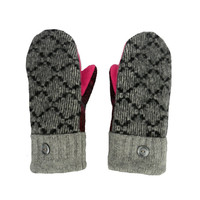 Black and Gray Wool Mittens, Sweater Mittens for Women Made in Wisconsin by SweatyMitts Handmade Hot Pink Plaid Gray Fleece Lined