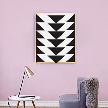 Triangles Poster, Scandinavian Print, Geometric Art Print, Black Triangles, Mid century geometric art, Triangles Print, Abstract Wall Art.