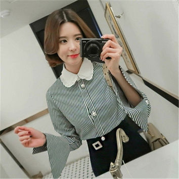 New 2017 Korean style Cute Blouse Women Plus Size Elegant Tops Stand collar Striped Shirt Pearl buttons Blusas 72500