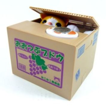 Cute Cat Kitten Chatora Coin Bank Itazura Money Save Box Gift - Japanese Toy NEW