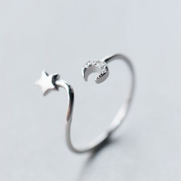 Delicate moon and star adjustable ring + Gift box ALQ1024R
