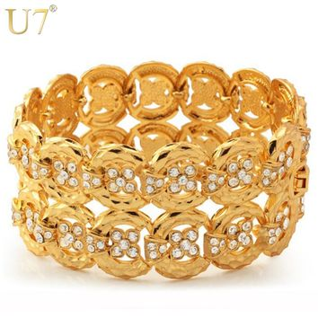 U7 Big Size Chain Bracelets Bangles Unisex WomenMen Jewelry Trendy Gold/Silver Color Rhinestone 33 MM Wide Bracelet H498