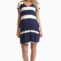 Navy Blue White Striped V-Neck Maternity Dress