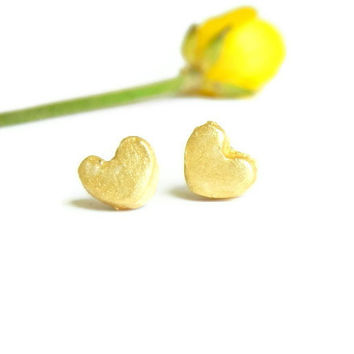 Gold Stud Earrings Tiny Bright Gold Ceramic Heart Post Earrings, Hypoallergenic Pottery Jewelry, Unisex