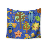 "Jane Smith ""Lightning Bug"" Blue Teal Wall Tapestry"