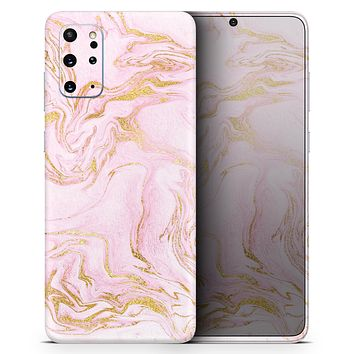 Rose Pink Marble & Digital Gold Frosted Foil V12 - Skin-Kit for the Samsung Galaxy S-Series S20, S20 Plus, S20 Ultra , S10 & others (All Galaxy Devices Available)