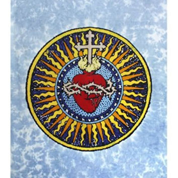 Sunshine Joy Sacred Heart Tie Dye Tapestry - 60x90 Inches - Beach Sheet - Hanging Wall Art