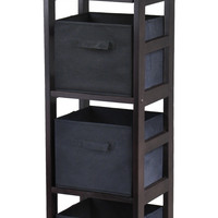 Capri 4-Section N Storage Shelf with 4 Foldable Black Fabric Baskets