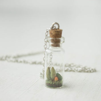 Green Orange Succulent In Bottle Planter Necklace Pendant minisucculent plants Succulent Jewelry Valentine's mother's day gifts