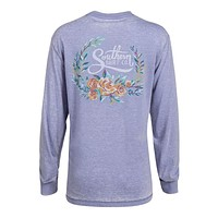 Forest Florals Long Sleeve Tee in Frost Blue by The Southern Shirt Co.