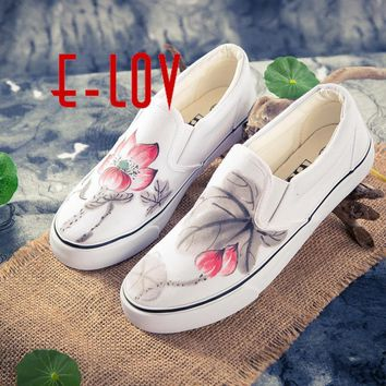 E-LOV Chinese Painting Unisex Designs Hand-Painted Canvas Shoes Personalized Men Adult
