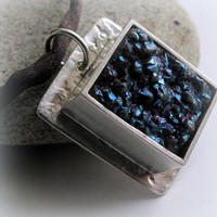 Blue Black Druzy Pendant Necklace in Hand Forged Sterling Setting