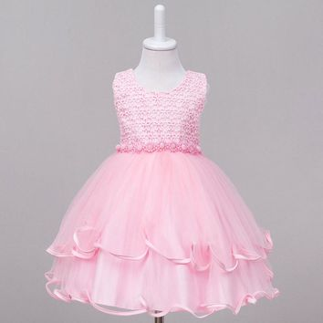 New summer Christmas Flower Belt Wedding kids dress bitter fleabane petticoat children costumes Princess Party Girls Dresses