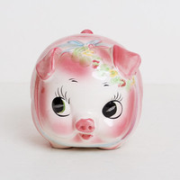 Vintage 50s 60s Big Eye Pink Floral Piggy Bank