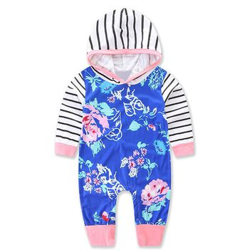 baby girls boys long sleeve printed flower striped blue hooded rompers infant clothes spring kids
